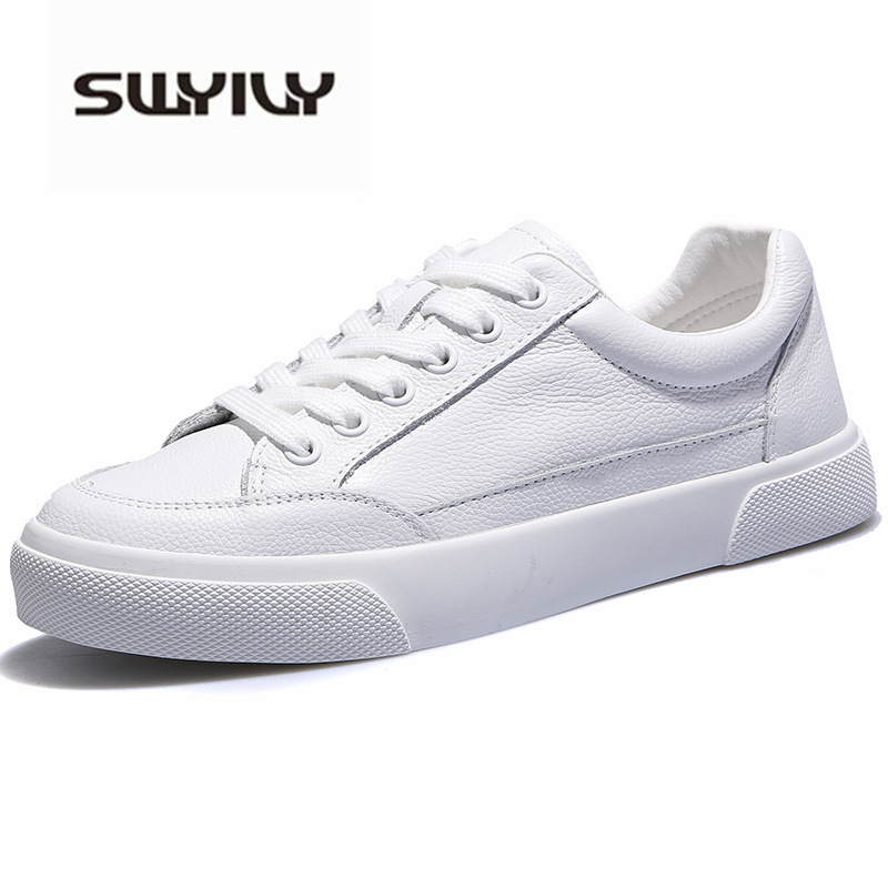 SWYIVY 2019 Shoes Women's Sneakers White PU Leather New Fashion White Vulcanize Sneakers Casual Shoes Breathable Size 40
