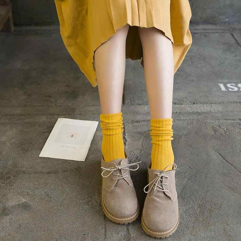 Gaya Jepang Musim Gugur Musim Dingin Tipis Warna Solid Gaya Preppy Harajuku Pertengahan Betis Panjang Kaus Kaki Katun Meias Sox untuk wanita Gadis