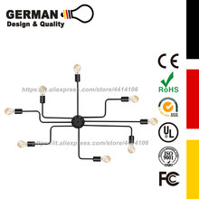 GERMAN Design and Quality Vintage Pendant Lights Multiple Rod Lamps Wrought Iron Ceiling Lamp for Home Lighting Fixtures