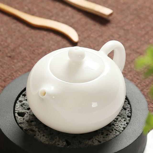 White porcelain teapot Dehua jade porcelain teapot pottery single pot Kung Fu teapot with filter porcelain pot Free Shipping