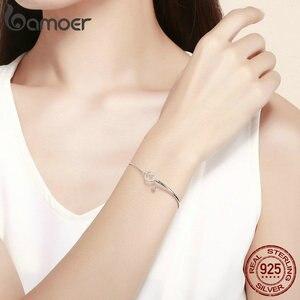 Image 5 - Bamoer ロマンチック新 100% 925 スターリングシルバーハートピンク cz チェーンリンク腕輪ブレスレット女性のためのスターリングシルバージュエリー SCB117
