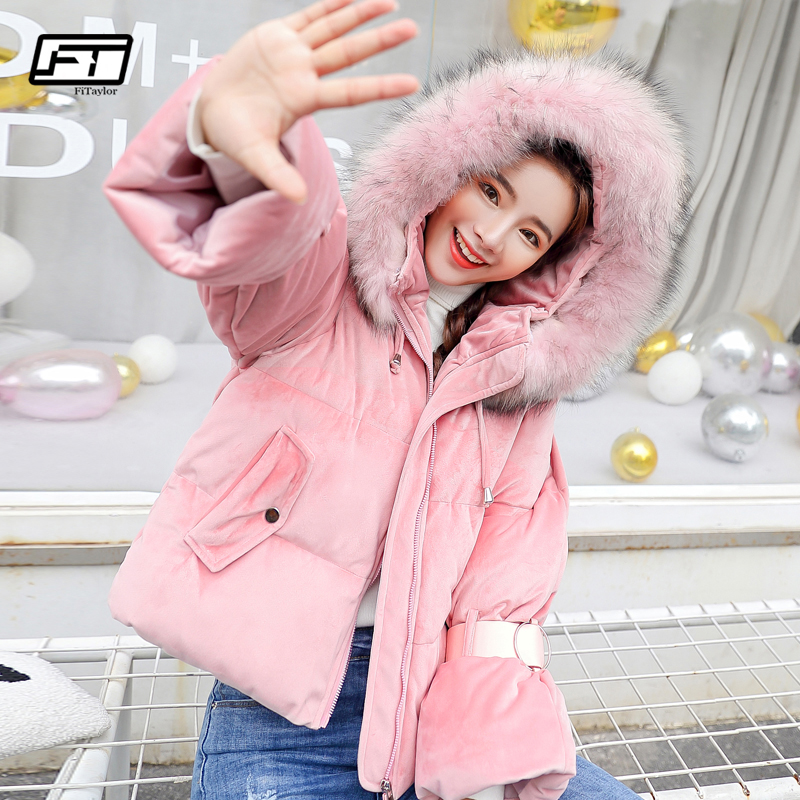 Fitaylor 2019 Cotton Padded Women Jacket Casual Winter Short   Parka   Fur Collar Coat Bread Overcoat Thickened Wadded Snow Outwear