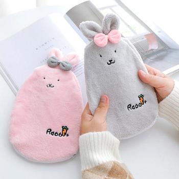 Lovely conejo de dibujos animados botella de agua caliente para las manos y los pies calentamiento mano Portable calentador invierno inyección de agua caliente bolsa