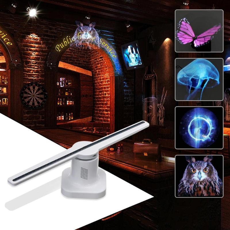 42 cm 3D hologramme projecteur lampe LED holographique publicité affichage ventilateur hologramme lumière avec 8 GB carte mémoire publicité lampe
