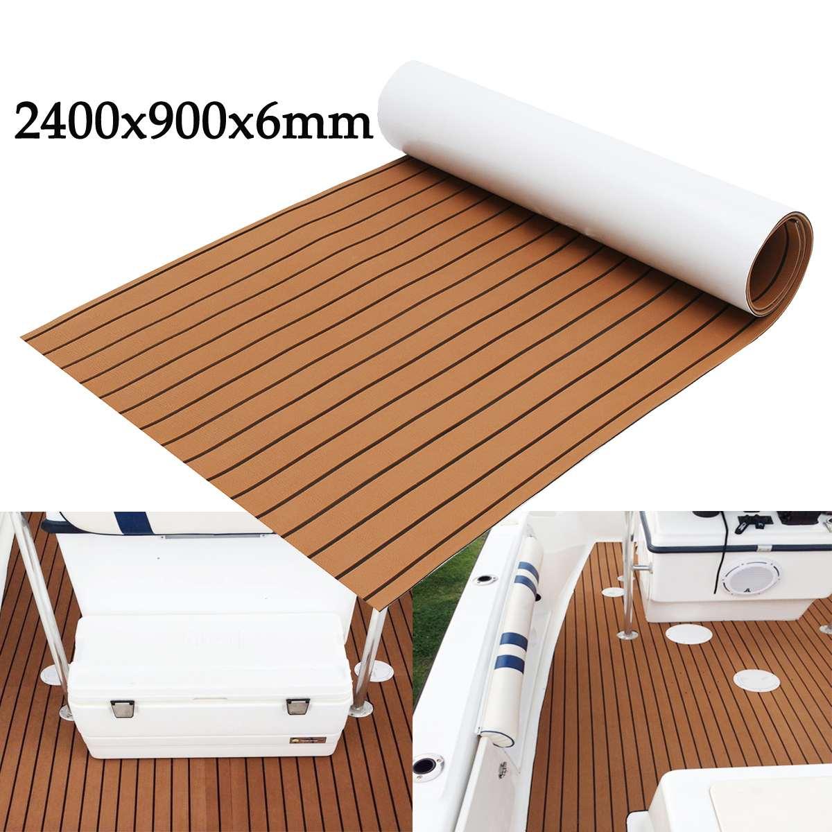 2400x900x6mm Brown Marine Flooring Faux Teak EVA Foam Boat Decking Sheet
