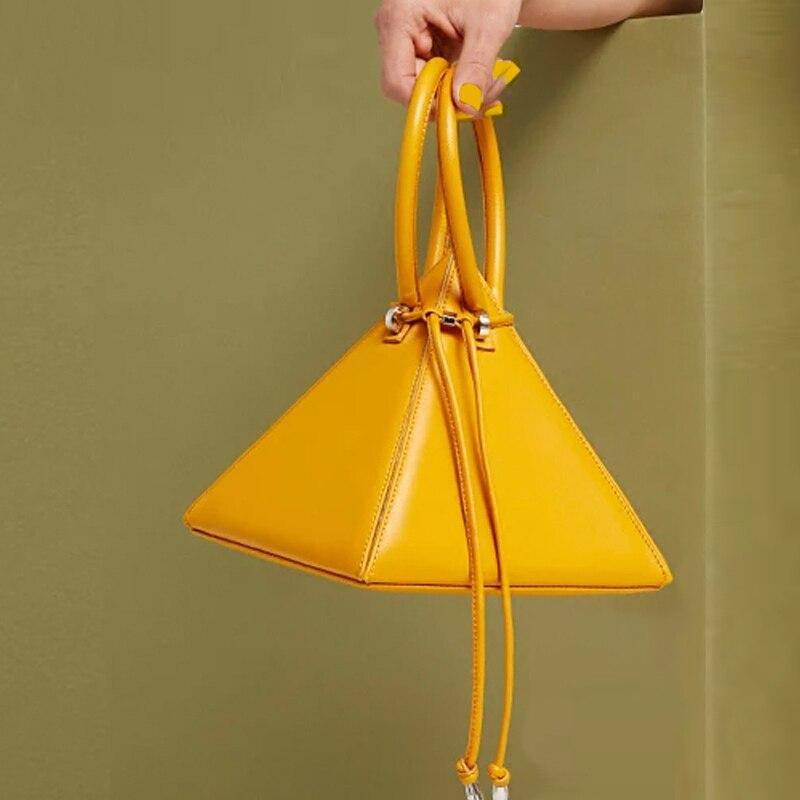 100% QualitäT [super Seabob] 2019 Frühling Sommer Frau Neue Stilvolle Zitrone Gelb Farbe Doppel Strap Dreidimensionale Dreieck Handtasche Li625 Profitieren Sie Klein