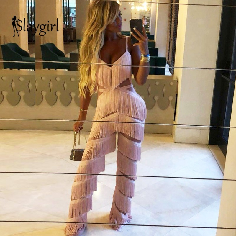 Slaygirl 2019 Fashion Autumn V Neck Tassel Bodycon Long Jumpsuit Women Elegant Backless Sexy Rompers Womens Jumpsuits Overalls