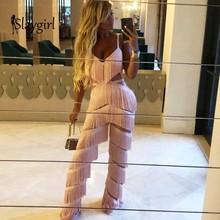 Slaygirl 2019 moda jesień V Neck Tassel Bodycon długi kombinezon kobiety eleganckie Backless seksowne rampersy damskie jednoczęściowe kombinezony robocze tanie tanio POFASH Pełnej długości Poliester Kombinezony i Pajacyki Na co dzień Suknem REGULAR Stałe casual jumpsuit pink rose bodysuit