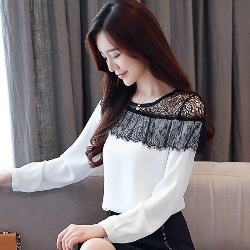 Fashion Wanita Atasan dan Blus 2019 Seksi Renda Blus Sifon Kemeja Wanita Lengan Panjang Kemeja Blusas Femininas 2135 50