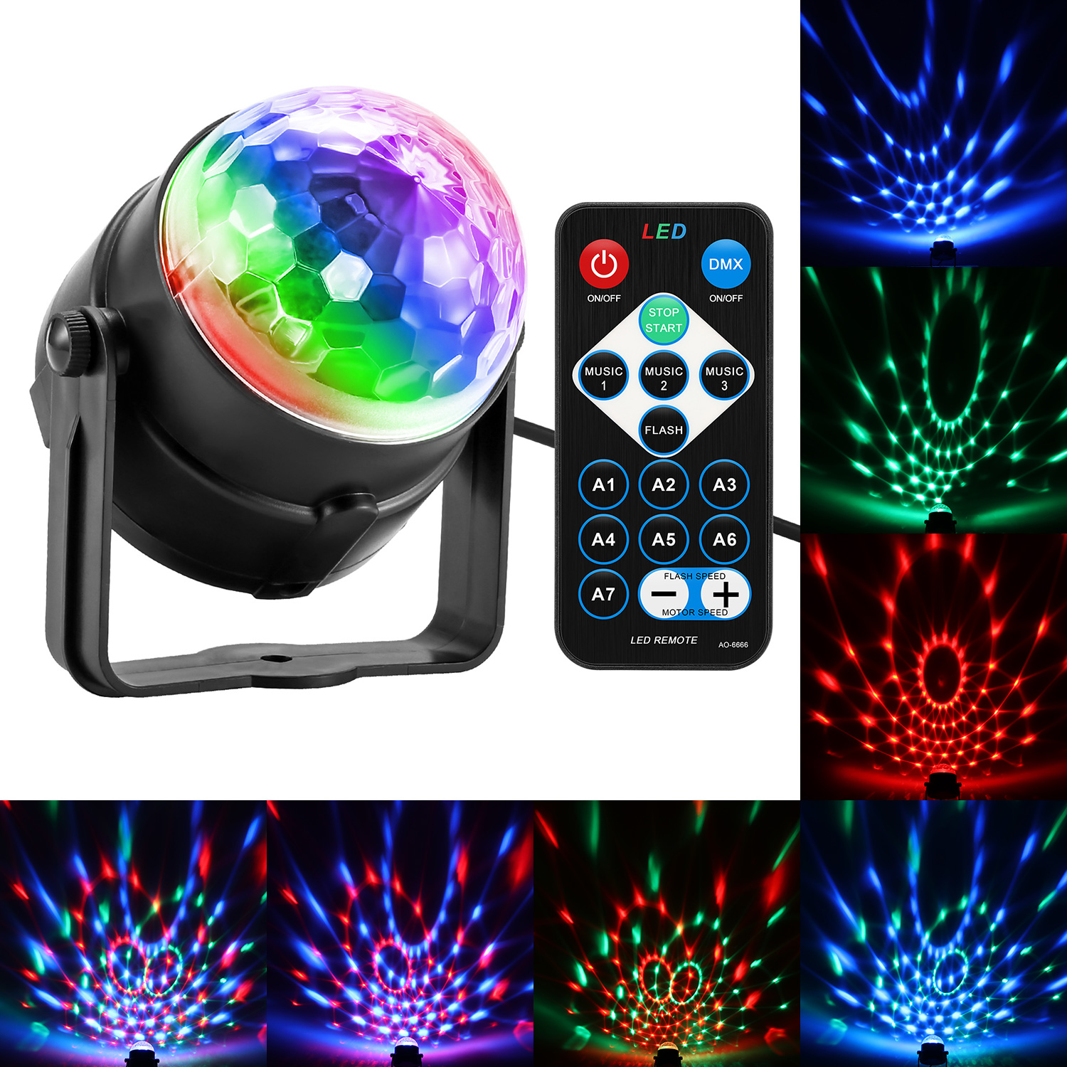 Mini RGB 3W Crystal Magic Ball Led Stage Disco Laser Light Sound IR Remote Control Christmas Projector Light For Home Decoration hot 6 3w leds voice cotrol laser stage light mp3 magic ball light ir remote digital rgb led crystal magic ball