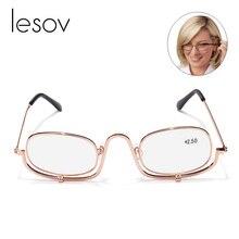 Lesov складные увеличительные очки для макияжа, очки, флип-линза, увеличительные очки для чтения+ 1,5,+ 2,0,+ 2,5,+ 3,0,+ 4,0 Новинка