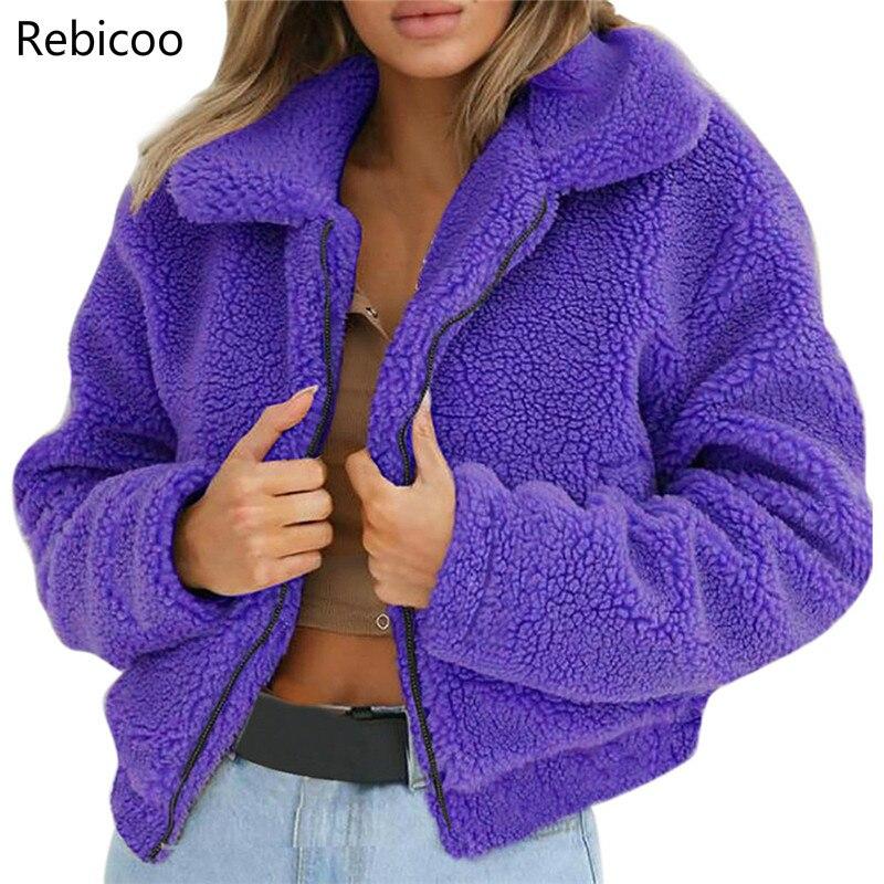 Fashion Fur Coat Women Ladies Warm Artificial Wool Coat Zipper Jackets Winter Parka Outerwear Faux Fur Coat Jackets