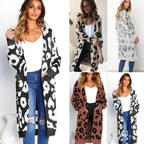 2e369b40b415 € 15.22 18% de DESCUENTO|Moda mujer Cardigan largo suéter abrigo 2019 nuevo  invierno primavera leopardo estampado abierto frontal bolsillos de punto ...