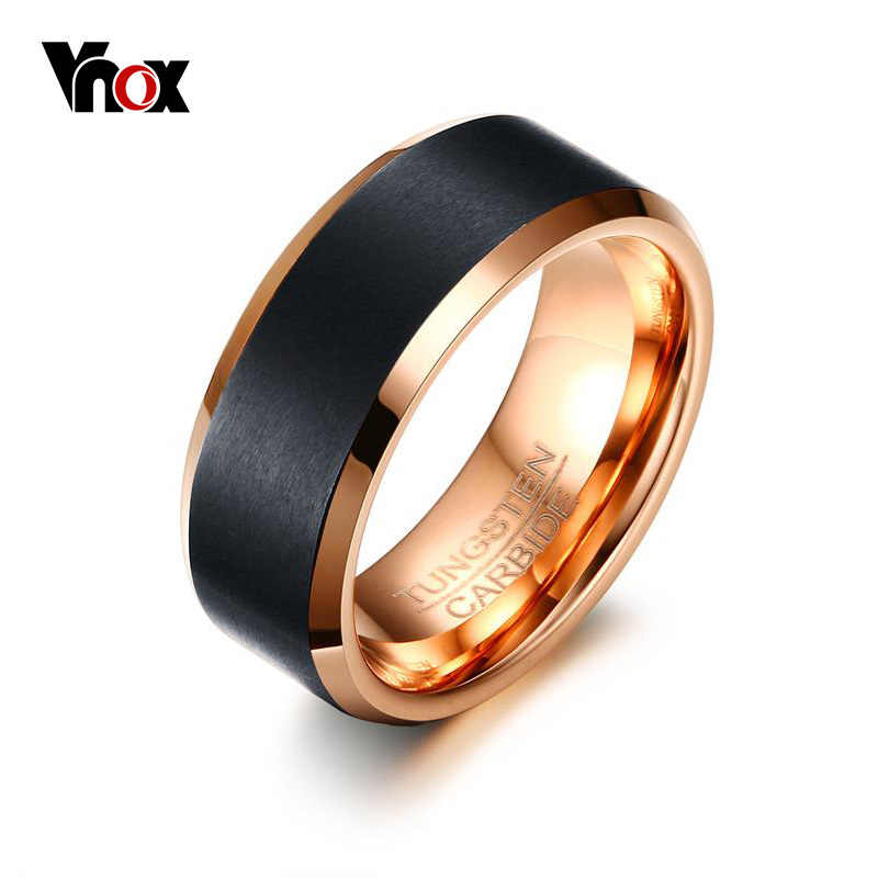 Vnox 2017 New Tungsten Carbide Ring Classic 8mm Men Wedding Jewelry Rose-Gold color