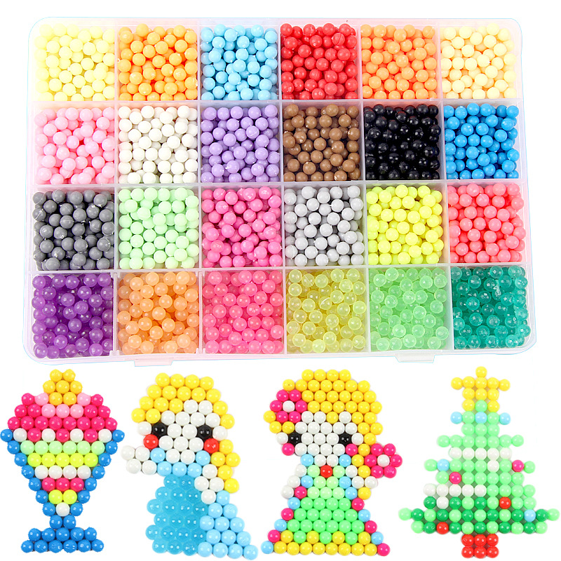 24 Color 3000pcs 2018 DIY Water Mist Magic Beads Toys For Children Animal Molds Hand Making Puzzle Kids Educational Toys