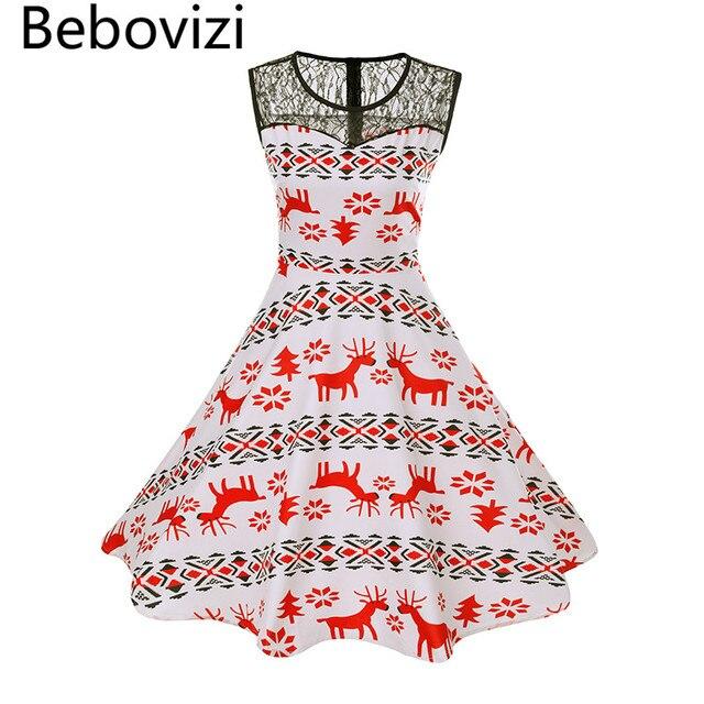 348d708eef3 Bebovizi Fashion Christmas Elk Party Dresses Women 50s 60 Retro Vintage  Midi Dress Rockabilly Swing Robe Femme Vestidos Audrey