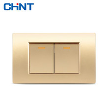 CHINT Electric 118 Type Switch NEW5D Steel Frame Champagne Golden Two Position Two Gang Two Way Switch Panel chint lighting switches 118 type switch panel new5d steel frame four position six gang two way switch panel
