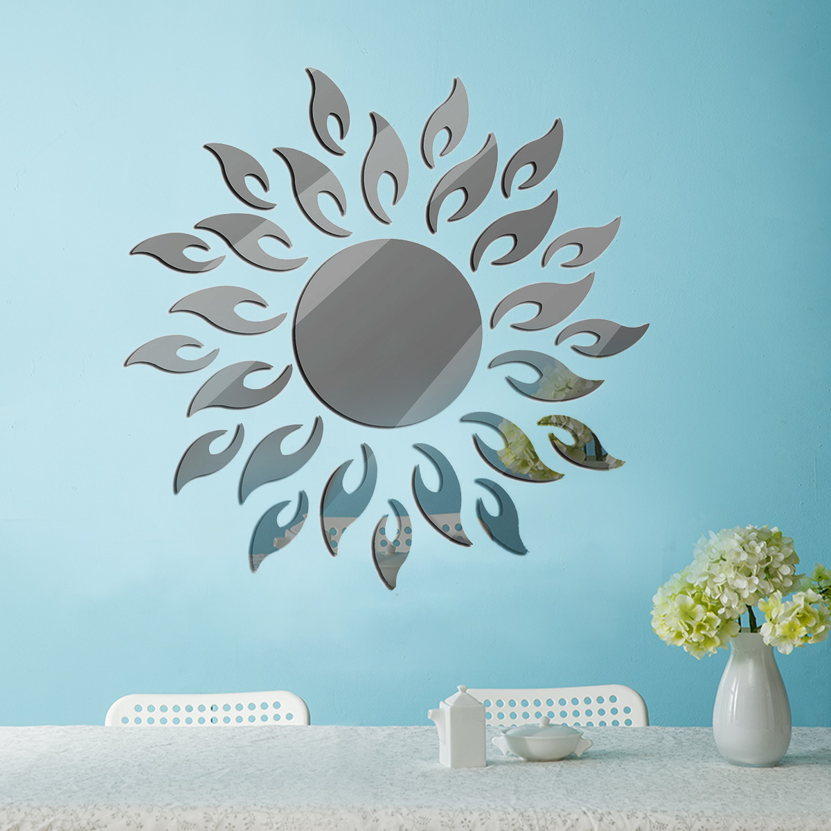 Removable 3D Sunshine Sun Flower Decorative Mirror Wall Sticker Decal Vinyl for Home Decoration DIY Mirrors Art Decor