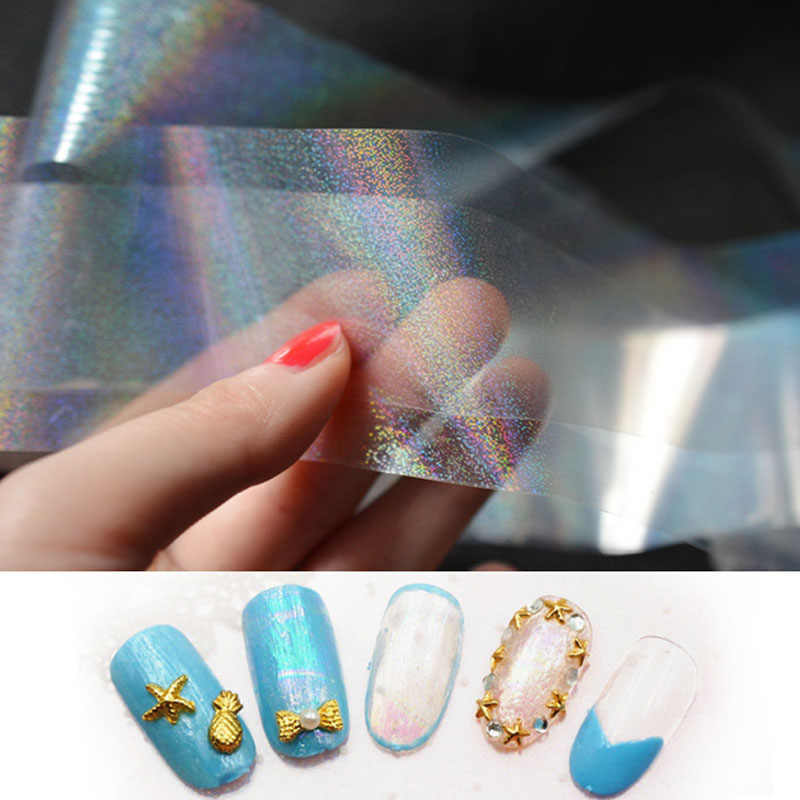Sale 1PC New Transparent Colorful Starry Sky Geometry Sticker Nail Art Decoration Fashion Nail Supplies