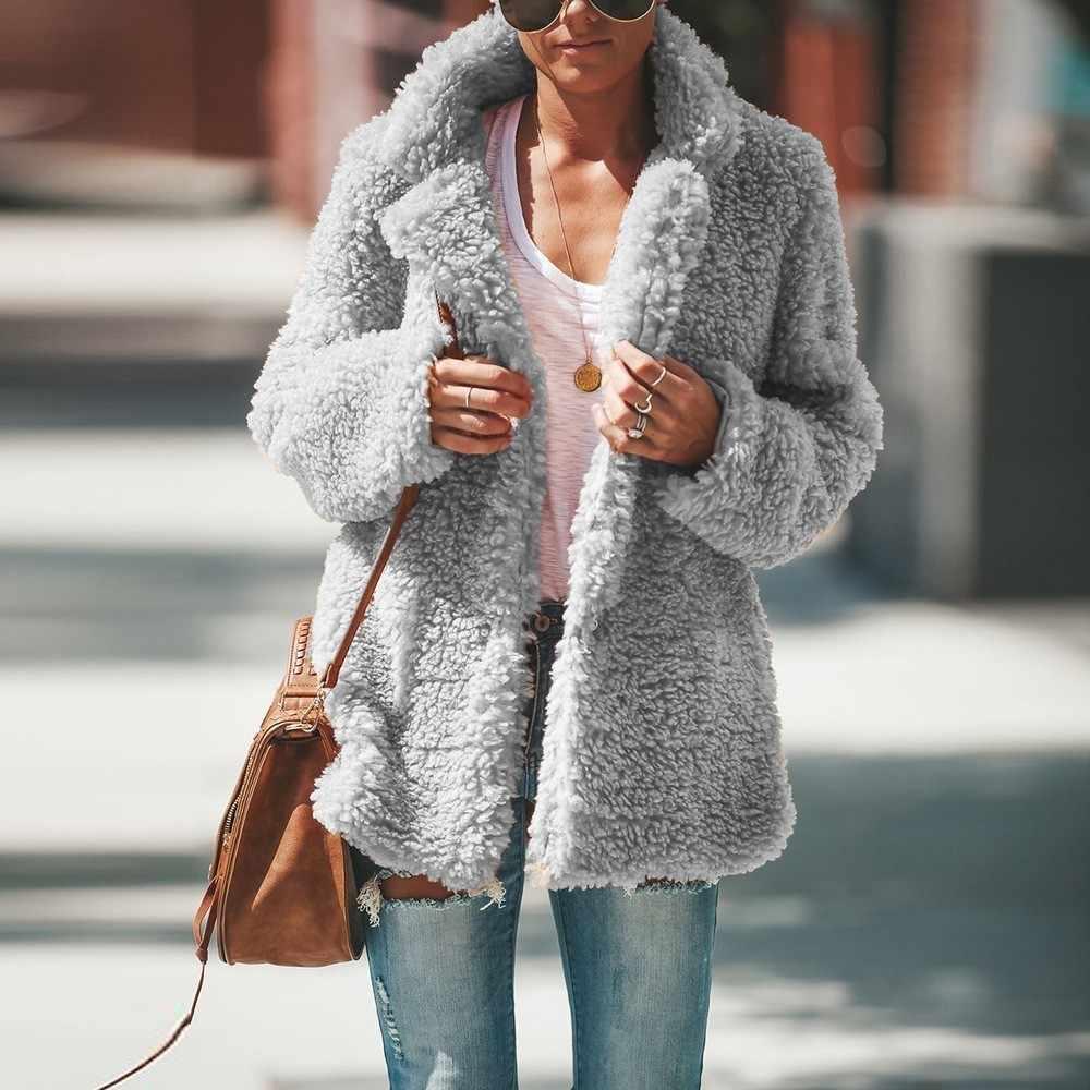 81752fd6c JRNNORV Winter Curved Hem Longline Faux Fur Sherpa Fleece Hoodie Coat Warm  Plush Thick Fur Casual Outerwear Women's BA0604