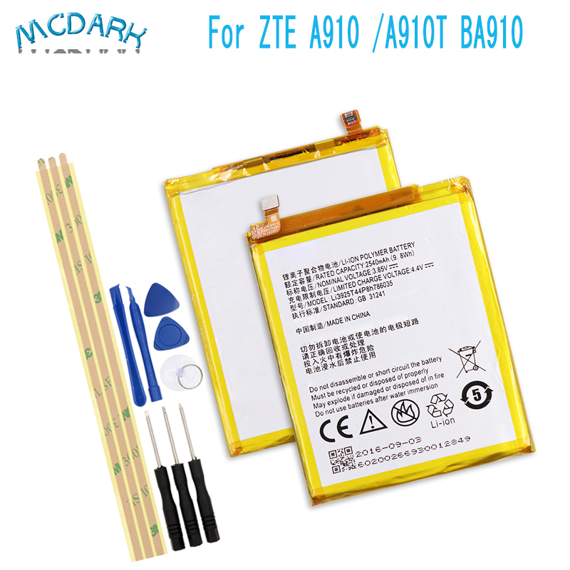Battery Blade ZTE Phone-Replacement-Batteries 2540mah For V7 Z10 Ba910/A910/A512 Li3925t44p8h786035