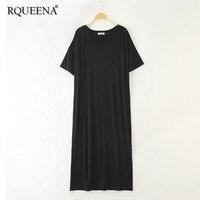 Rqueena 2019 Korean Style Women's Dresses Summer Loose Tshirt Dress V Neck Black Long Oversized T Shirt Dress For Women TD001