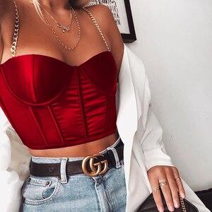 Image 2 - NewAsia letni krótki Top kobiety seksowny gorset Top bez czarnego łańcucha pasek wyściełane przycięte Casual satynowe czarne krótkie bluzki ubrania 2020