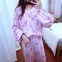 set Pajamas 2019 Home Long Sleeve Bedgown Sleepwear Version Cartoon V Suga Female Shirt Women Same