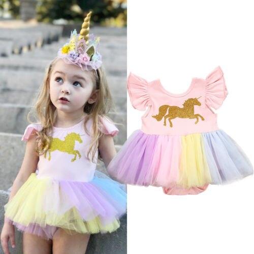 AUStock recién nacido bebé niña unicornio encaje tutú media manga Romper vestido chico disfraz