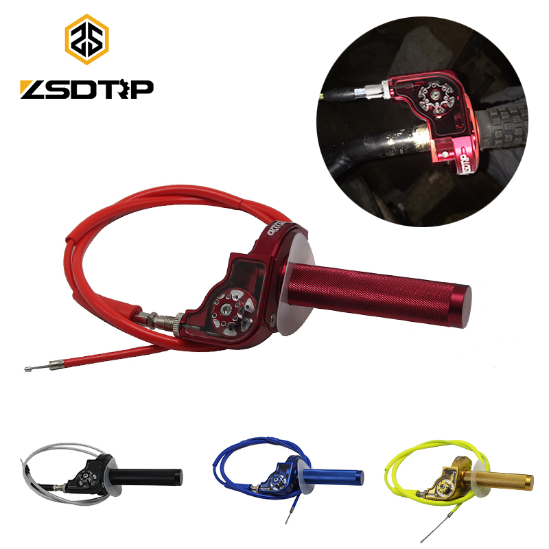 ZSDTRP Motocross CNC Aluminum Throttle Grip + Throttle Cable 22mm Quick Twister Motorcycle Modified Spare Parts