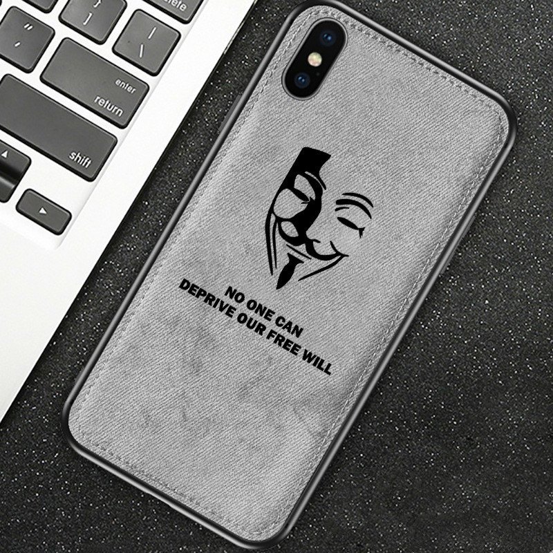 For Iphone 7 Case 8 6 6s Plus X Xs Max Xr New Cloth Texture Silicon Phone Case V For Vendetta Fabric Soft Protective Cover Coque|Fitted Cases| |  - title=