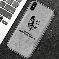 Voor Iphone 7 Case 8 6 6 S Plus X Xs Max Xr Nieuwe Doek Textuur Silicon Telefoon Case V voor Vendetta Stof Zachte Beschermende Cover Coque