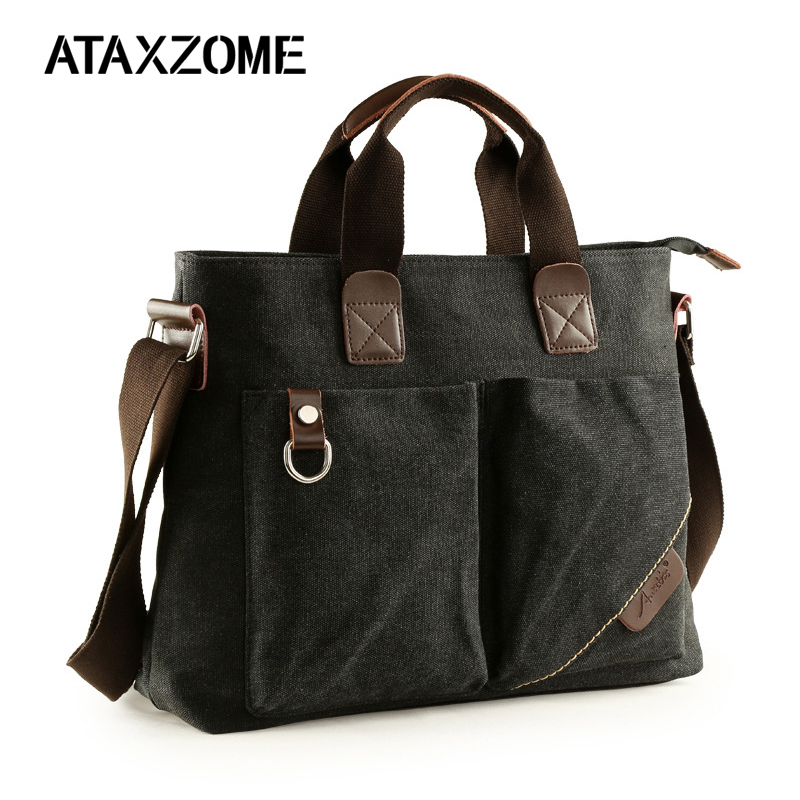 ATAXZOME Fashion men's bag high quality canvas briefcases wear-resistant lightweight men's business bag gift for men B1028