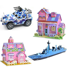 Assembly 3D DIY Puzzle Jigsaw Model Castle House Aircraft Cartoon Doll Paper Froth For Kids Creative Gift Model Building Kits