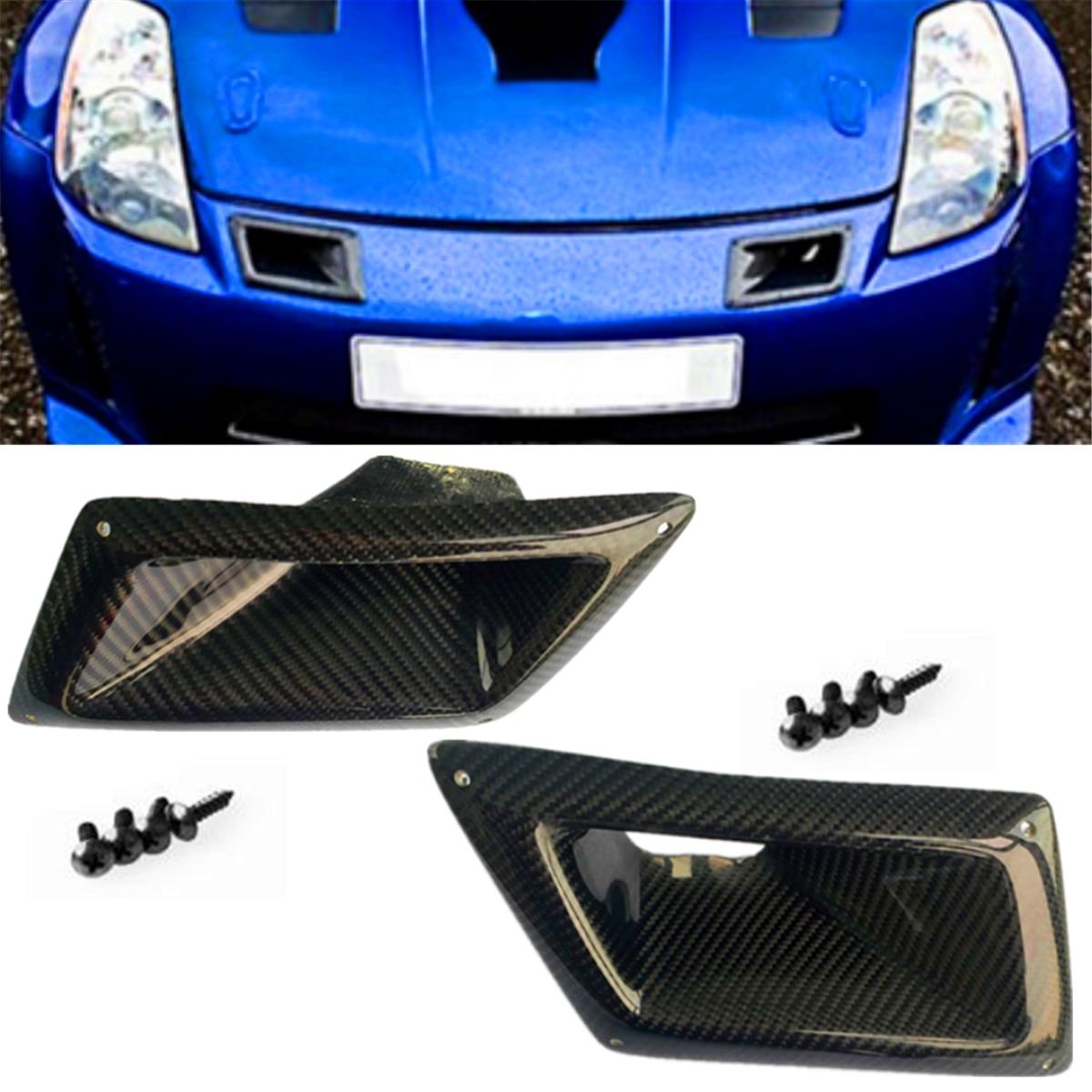 1 пара углеродного волокна переднего бампера воздушные накладки для вентиляционных отверстий отделкой каналы впуска Подходит для Nissan 350Z Z33 ...