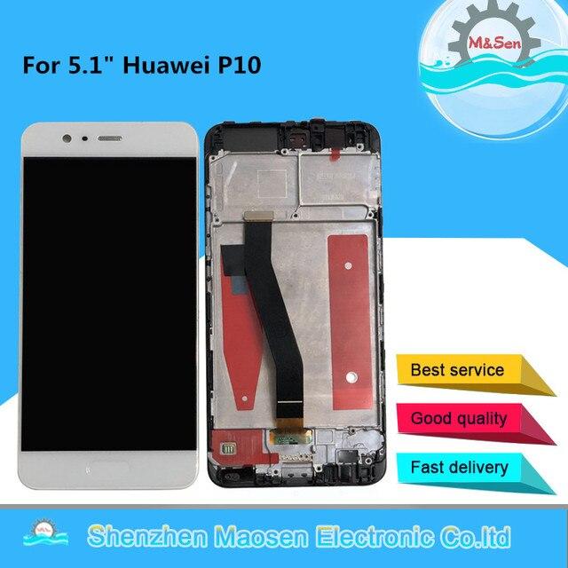 """5.1 """"מקורי נבדק M & סן עבור Huawei P10 VTR AL00 VTR L09 VTR L29 VTR TL00 מסגרת LCD תצוגת מסך + מגע פנל Digitizer P10"""