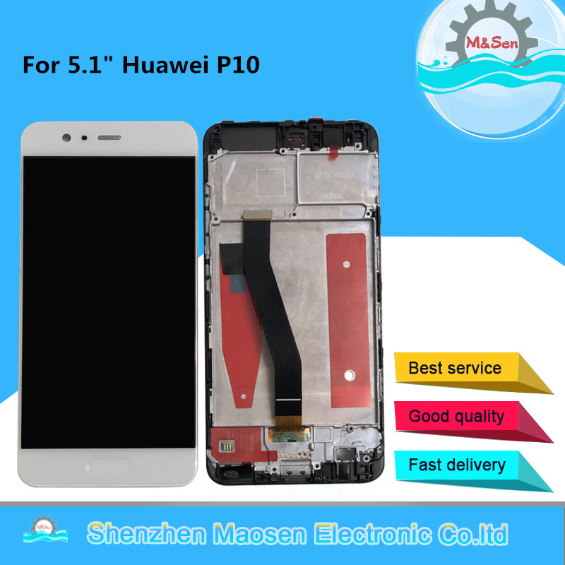 "Original tested M&Sen 5.1"" For Huawei P10 VTR-AL00 VTR-L09 VTR-L29 VTR-TL00 Frame LCD Display Screen+Touch Panel Digitizer P10"
