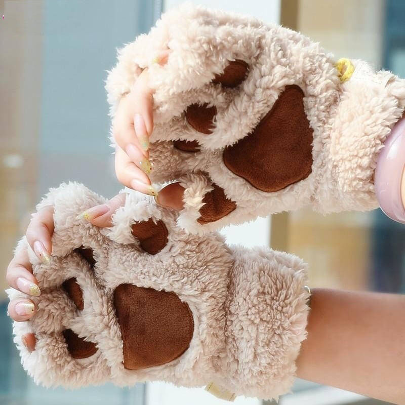 Winter Ladies Women Cute Animal Cat Bear Claw Paw Plush Mittens Short Fingerless Warm Lovely Gloves Half Finger Gift