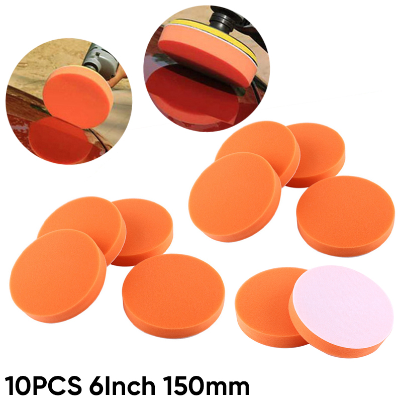 10Pcs 6 Inch 150mm Soft Buffing Sponge Polishing Pad Kit Set For Car Polisher Buffer For Car Beauty Polishing Waxing Glaze