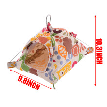 Cartoon Cat Pattern Hut Pet  Parrot Cage Snuggle Tent Hammock Reusable Washable Bird Bed Cage Toy S/L New
