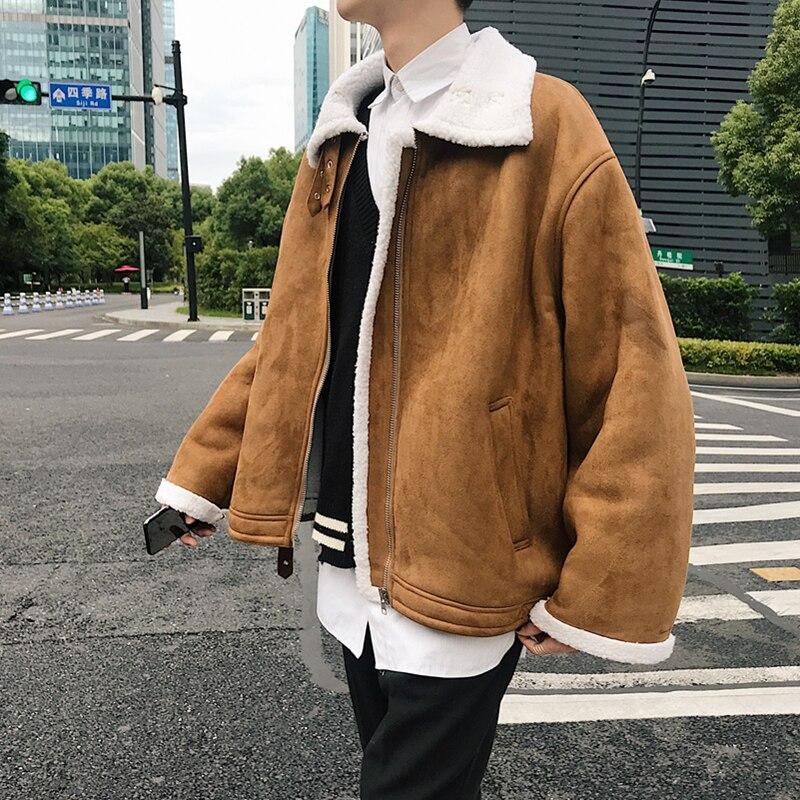 Veste d'hiver hommes épais laine chaud mode rétro manteau Streetwear décontracté lâche mâle coton vêtements Parka homme solide vêtements de couleur