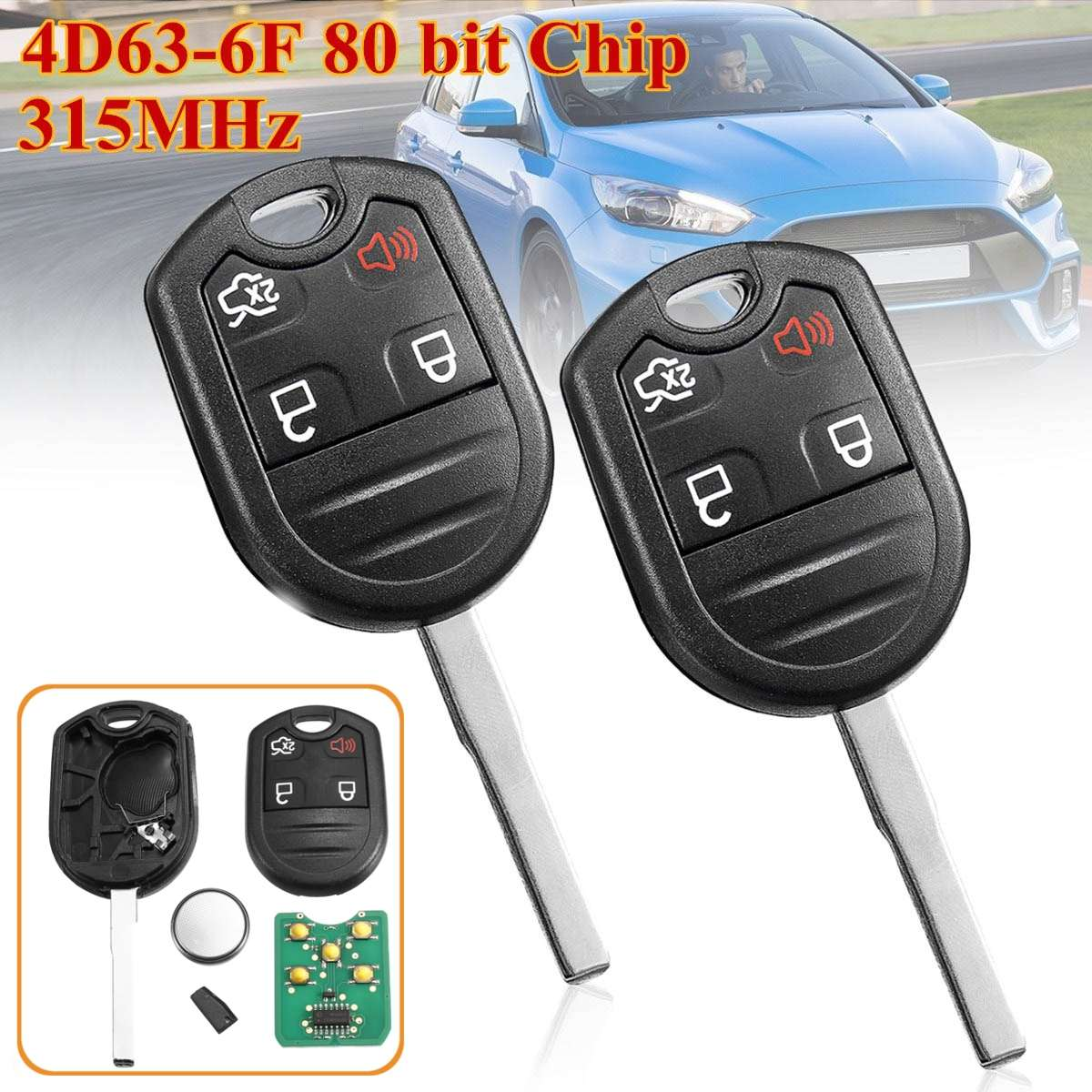 2pcs 4 Buttons Remote Key Fob with 4D63-6F 80 bit Chip 315MHz For Ford for Ford F-150 F-250 F350 CWTWB1U793