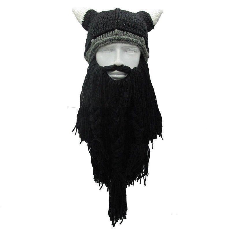 Забавная мужская вязаная шапка для косплея на Хеллоуин, лыжная маска для Викинга, лыжная маска, крутая бини зимняя теплая шапка унисекс