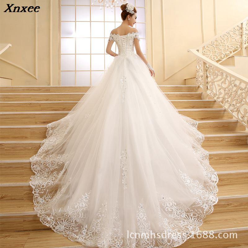 Vestido De Novia 2018 Новое свадебное платье принцессы белое кружевное Бисероплетение Кристалл лодочка шеи Королевский поезд дешевые платья плюс ра