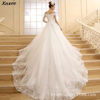 Vestido De Novia 2018 New Bridal Gown Princess White Lace Beading Crystal Boat Neck Royal Train Cheap Dresses Plus Size Xnxee