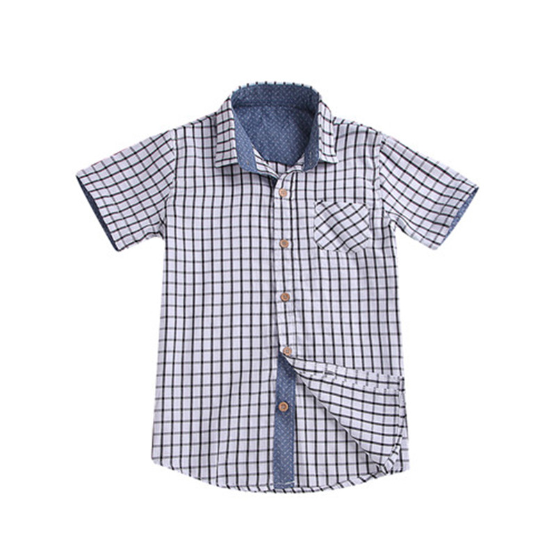 Boy Shirt Blouse Tops Short-Sleeve Toddler Baby-Boys Kids Cotton New Summer Plaid 3-10Y