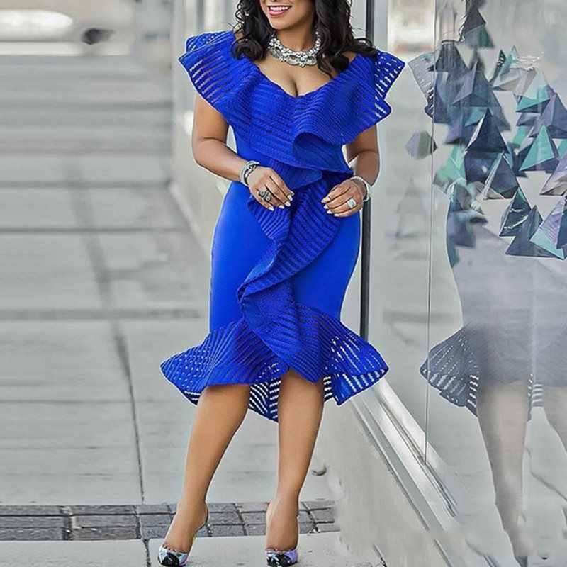 ab89435e1be7b Women Dresses 2019 Summer Elegant Party Evening Asymmetric Ruffles Mermaid  Patchwork V Neck Female Bodycon Midi Dress 727147