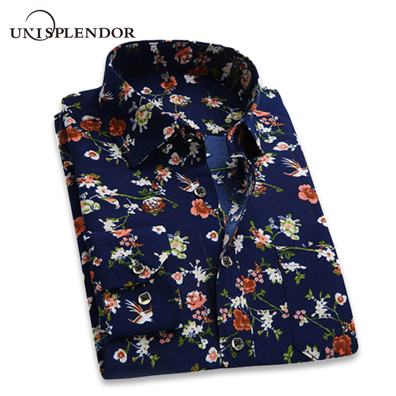 Casual Shirts Men Dress Long-Sleeve Classic Brand Clothing Floral-Printed Retro Men's