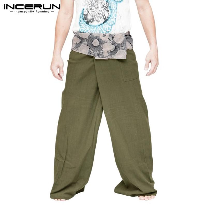 INCERUN Women Men Casual Pants Print Vintage Pockets Wide Leg Trousers Baggy Muslim Pants Men Ladies Thai Fisherman Pants 2019