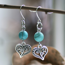 цена на Blue Bead Stone Dangle Earrings Heart Pendant Hook Earring Silver Color Boho Ethnic Vintage Indian Jewelry Zinc Alloy DBE093
